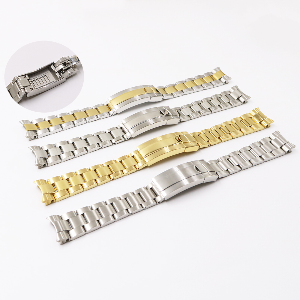 CARLYWET 20mm Two Tone Gold Silver Solid Curved End Screw Link Glide Lock Clasp Watch Band