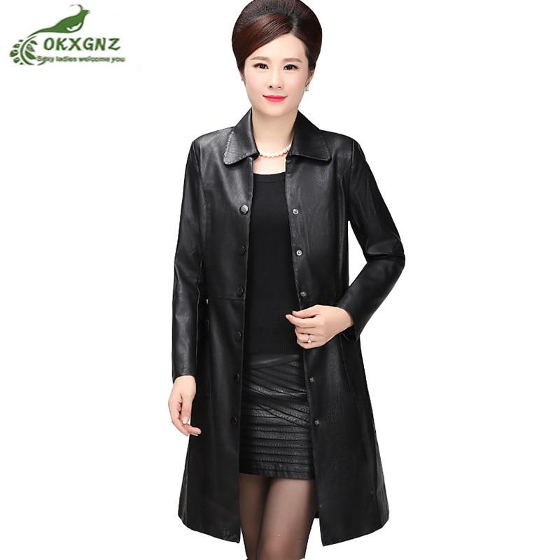 Spring Autumn middle-aged women   leather   coat female large size Medium length jacket women Slim fashion Windbreaker women OKXGNZ