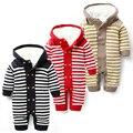 A roupa do bebê recém-nascido macacão de bebê manga longa de algodão novo inverno quente camisola de malha listrado com capuz espessamento outwear macacão
