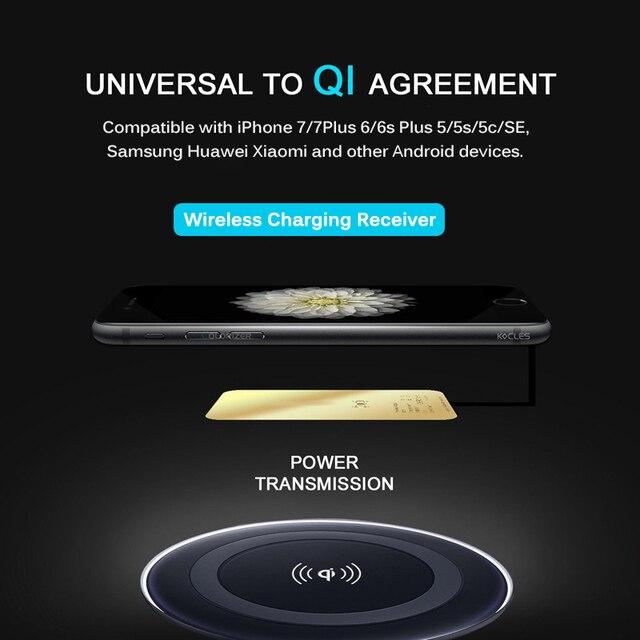 เครื่องรับสัญญาณไร้สาย Qi สำหรับ iPhone 7 6s Plus 5s Micro USB ประเภท C Fast Universal Wireless Charger สำหรับ Samsung Huawei Xiaomi 1