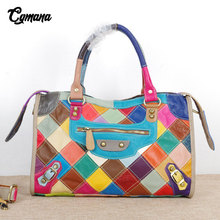 Brand Bags100% Genuine Leather Women Handbag Colorful Natural Leather Patchwork Shoulder Bags Large Capacity Casual Tote Bags hot just on stock women bag handbag genuine leather bags large capacity patchwork elegant tote bolsas women shoulder bags y101