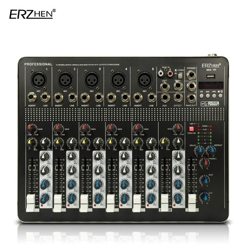 Audio Mixer Console with USB 4 Channel Mixer Sound Console DJ Equipment / 48V Phantom Power Supply with Bluetooth Audio mixing цена и фото