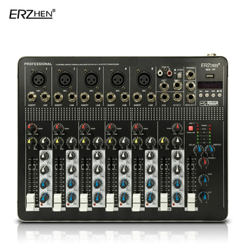 Audio Mixer Console with USB 4 Channel Mixer Sound Console DJ Equipment / 48V Phantom Power Supply  with Bluetooth Audio mixing