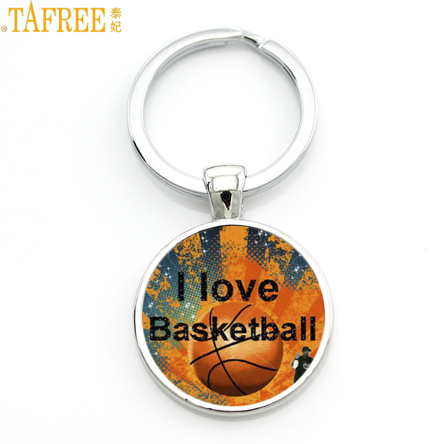 TAFREE Brand Keep Calm and Love Basketball key chain ring holder women men basketball sports jewelry keychain keyring gift