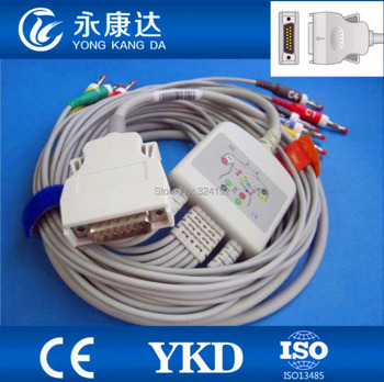 Free shipping Mortara One-Piece 10 Leads 12-channel EKG Cable with IEC Banana 4.0 plug image