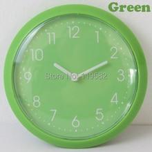 Wholesales Free Shipping Kitchen Magnet Wall Clocks Simple Fridge Wall Clocks Green Color Thin Round Clocks Back Fridge Stickers