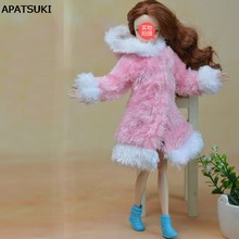 Pink & White Winter Warm Fur Coat Dress Clothes For Barbie Dolls Fur Doll Clothing For 1/6 BJD Doll Kids Toy Doll Accessories(China)