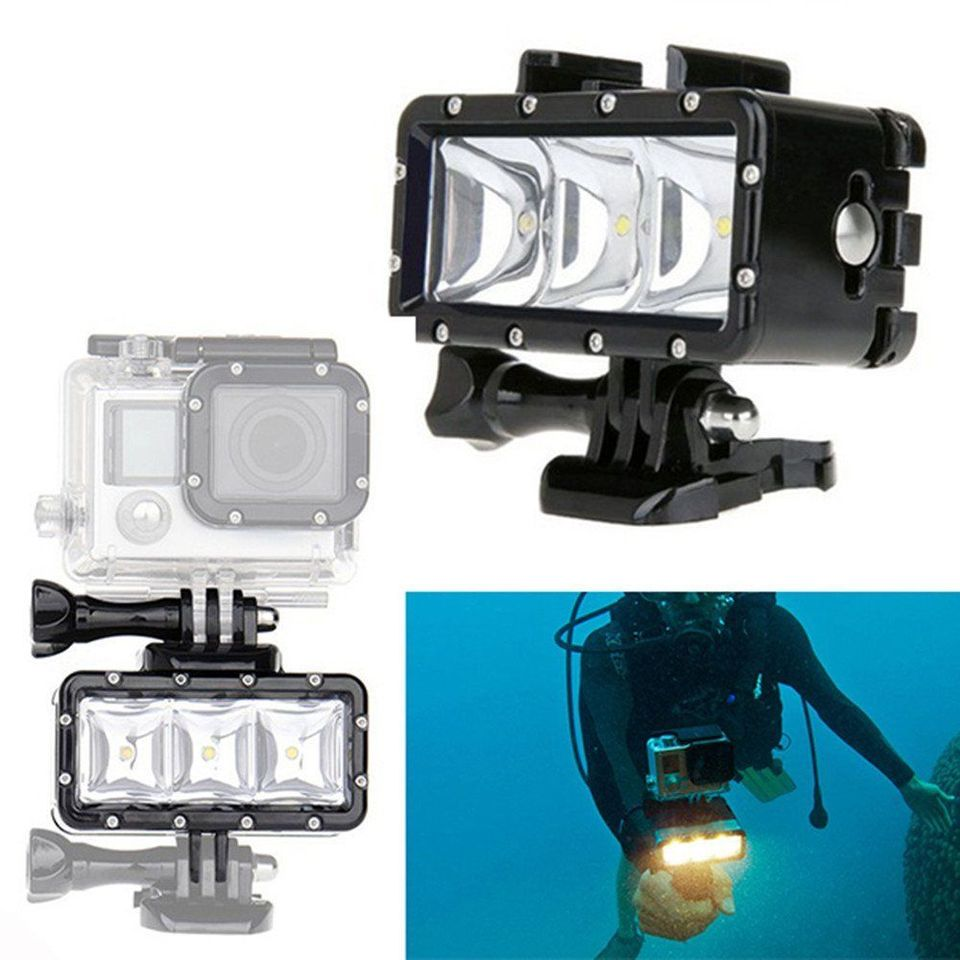buckle mount For GoPro Session Hero4 3 NEWEST Accessories For Go Pro Underwater Diving Light waterproof LED video light 3 Xiaomi SJCAM SJ4000 5000 6000 M10,Double battery,Black