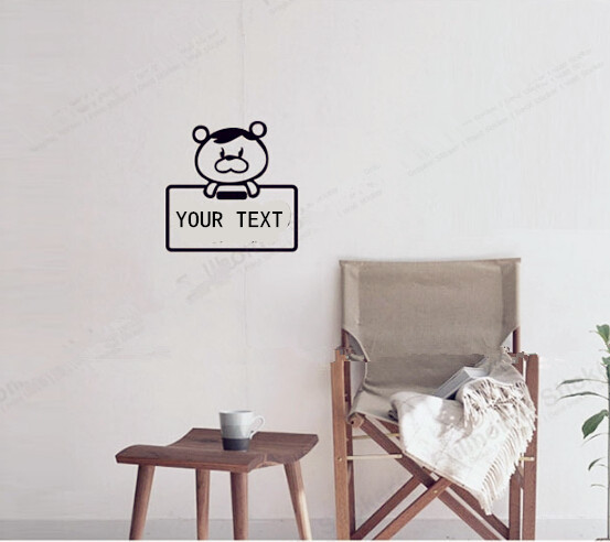 Your text custom vinyl stickercute bear pvc wall decal for home bathroom kitchen office school bar ktv decor free shipping in wall stickers from home