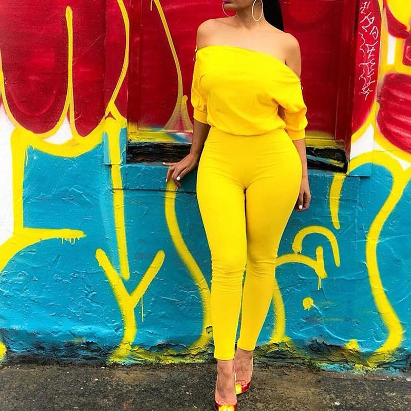 Women Sexy Jumpsuit Off Shoulder Zipper High Waist  Rompers Chic Tunic Half Sleeve Lady Pants Jumpsuits Female Overall Clothes