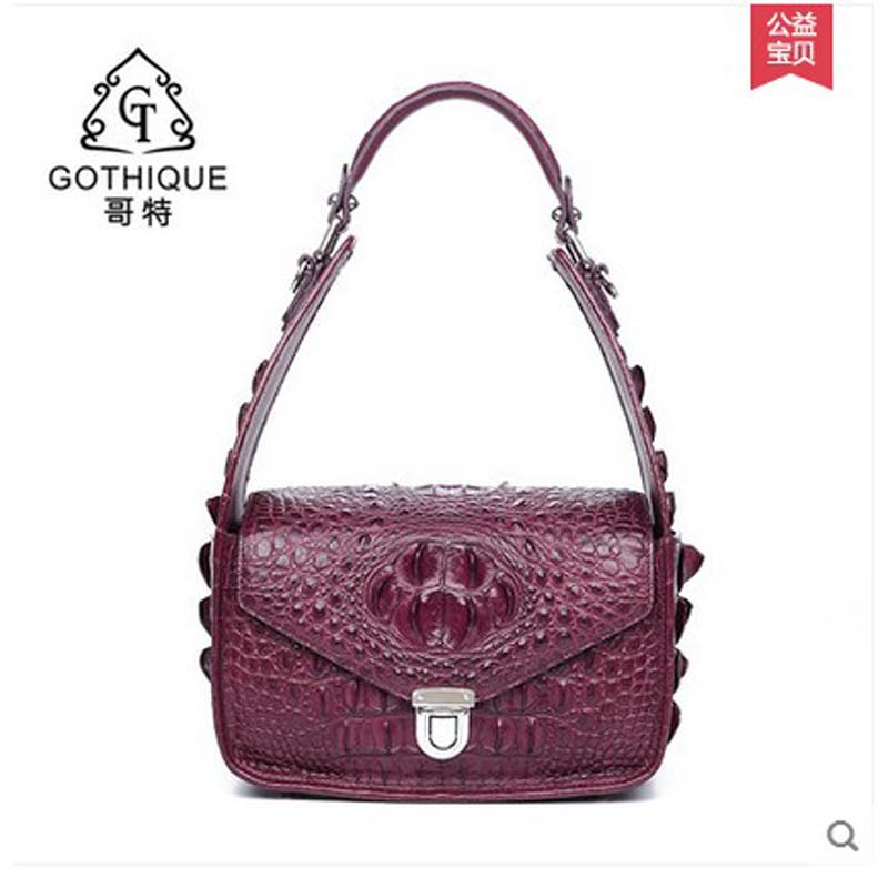 2018 gete new hot freeshipping alligator skin women handbag crocodile leather women bag one-shoulder female bag