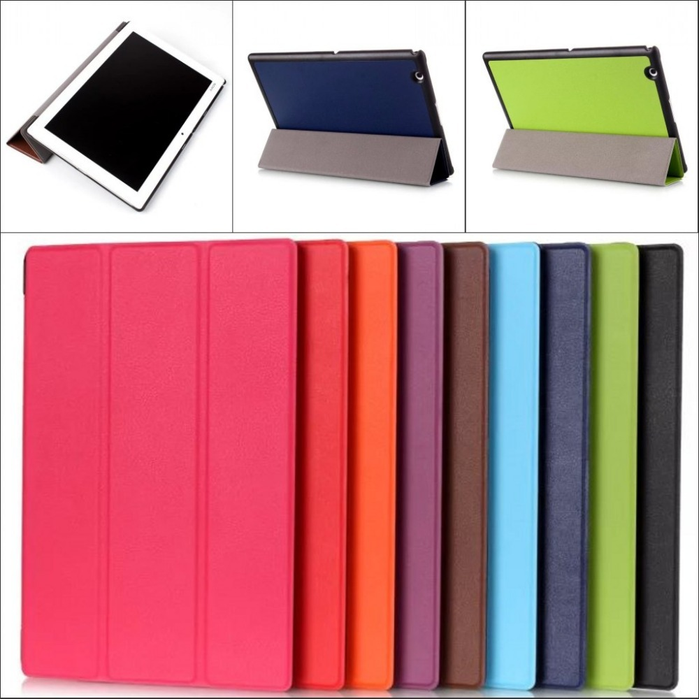 Fashion 3 Folded silk pu Leather Folio Stand holder Case cover for Sony Xperia Z4 Tablet 10.1 with stylus pen