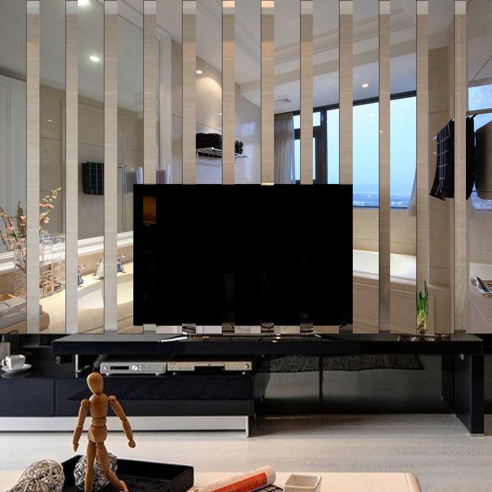 10 P S Set Espelho Acr Lico 3d Adesivos De Parede Sala Tv Backdrop  -> Adesivo Parede Sala De Tv