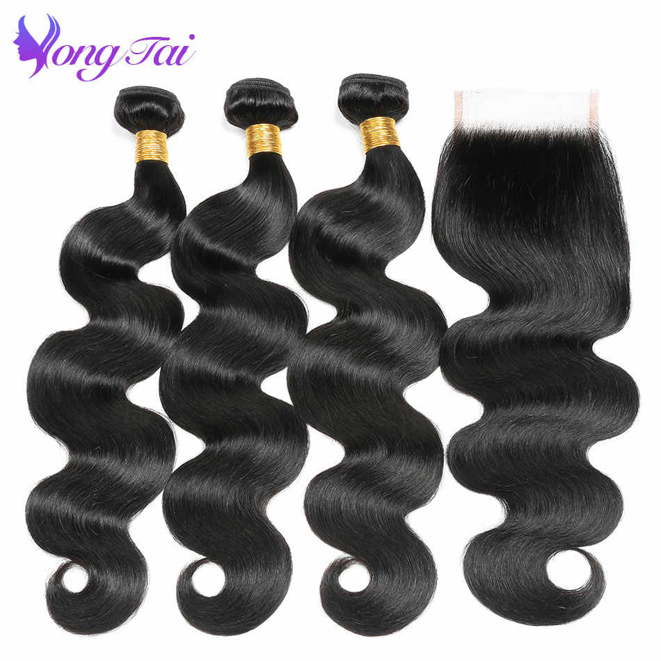 Yuyongtai Hair Unprocessed Peruvian Virgin Hair Body Wave 3 Bundles Per Lot Hair Weaving With Closure Remy 100% Human Hair
