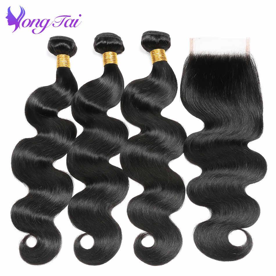 Pelo Yuyongtai pelo virgen peruano sin procesar onda del cuerpo 3 paquetes por lote cabello tejido con cierre Remy 100% cabello humano