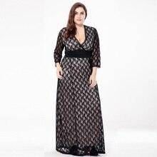 2fd746d4b2d Spring Women Sexy plus size black lace dress fashion Ankle-Length dress fat  mm evening