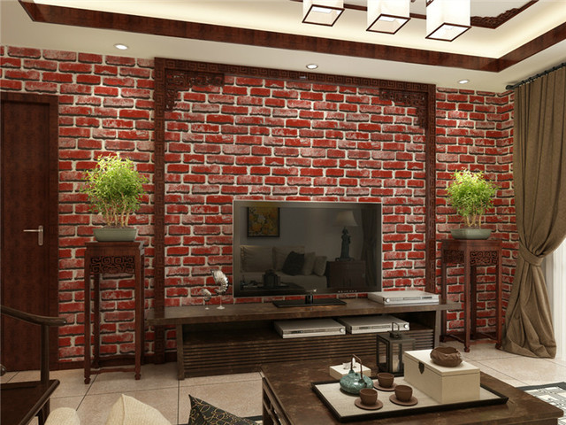 rustic vintage 3d faux brick wallpaper roll vinyl old stone wall paper for restaurant cafe decor