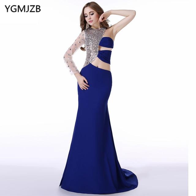 470468b43b4 Длинные Вечерние платья 2018 Русалка одно плечо с длинным рукавом из бисера  Кристалл шифон платье для