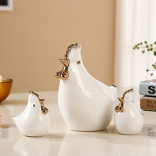 Home Furnishing furnishings ornaments animal crafts ceramic rooster decorations Modern Pottery Decor Porcelain rooster 3pcs/set