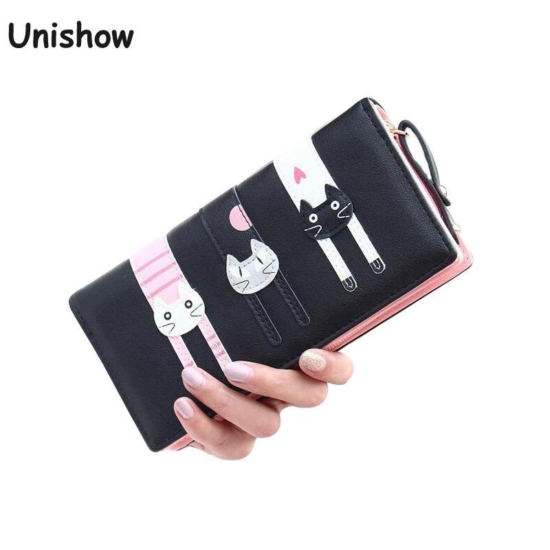 New fashion cat wallet women zipper long wallet brand female purse large capacity women clutch coin purse