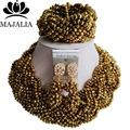 2017 Fashion african beads jewelry set Gold Plated Nigeria Wedding Crystal necklace Bridal Jewelry sets Free shipping VV-046