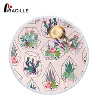 Miracille Cactus Beach Towel Round Microfiber Printed Circle Towel Suitable For Living Room Home Decoration Bohemian Bath Towel