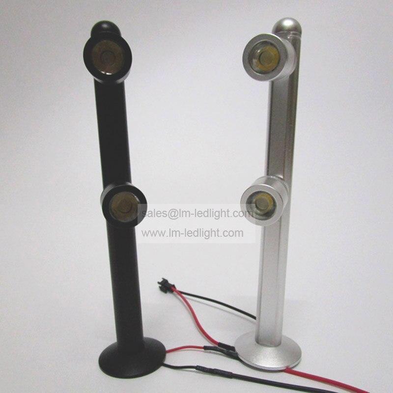 2W Led Jewelry Display Lighting 110-240V 17.5CM 20CM 25CM Cabinet Spot Light warm/neture/cold white nickel aluminium alloy 2pcs