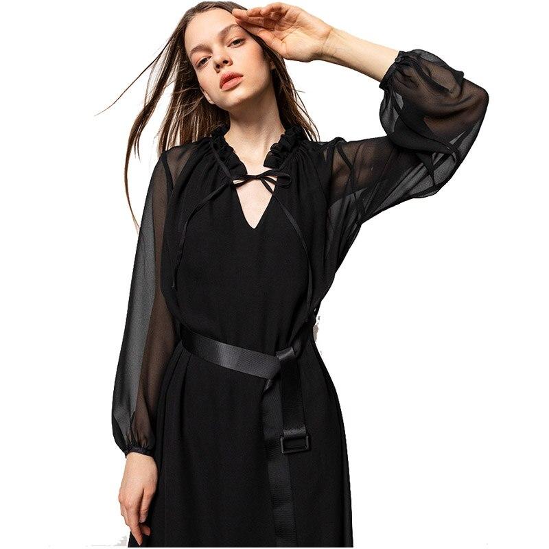 9ea4d5f5a98 D été À Cou V Tenue 2019 Mousseline Robes De Solide Black Maxi Femmes Fête  En ...