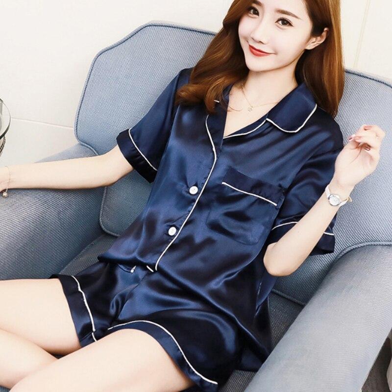 KISBINI 2019 Casual Summer Women's   Pajamas     Sets   Imitation Silk Sleepwear 2PCS/  Set   Short Sleeve Shirt+Shorts Pyjama Nightwear