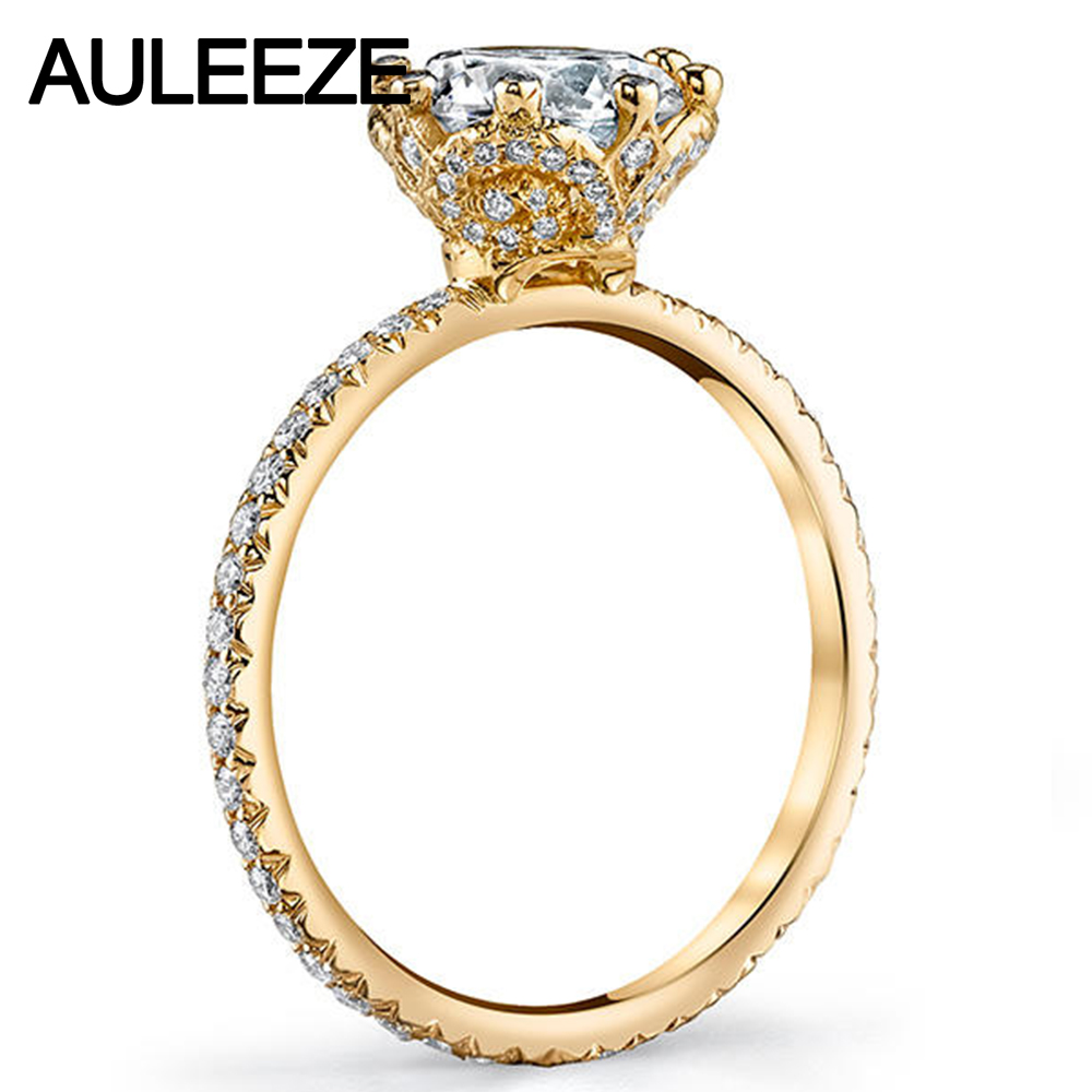 a ring with engagement in double setting cathedral two rings row diamond round white gold rockher prong