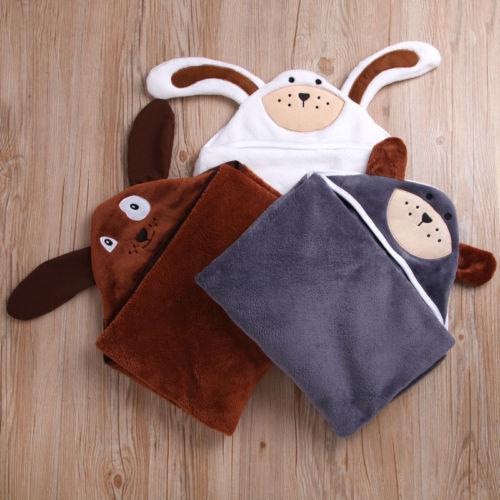 Neugeborenen Baby Hoodie Bad Robe Flanell Nette Tiere Ohr Handtuch Decke Nachtwäsche Pyjama Bbay Jungen Mädchen
