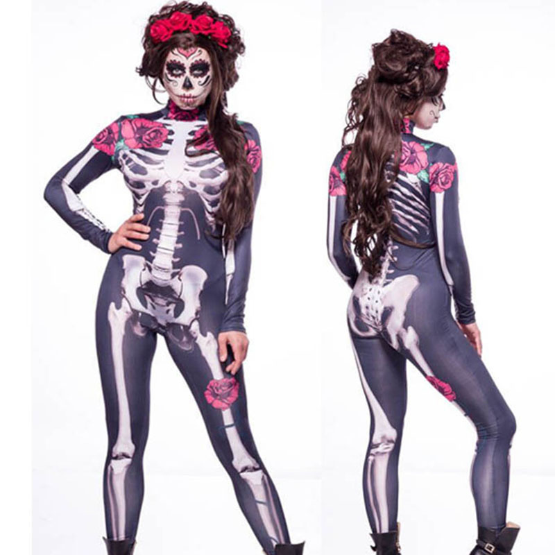 Women Sexy Bodysuits Halloween Costumes For Women 3D Skull Rose Printing Skeleton Scary Devil Ghost Cosplay Costumes Jumpsuits