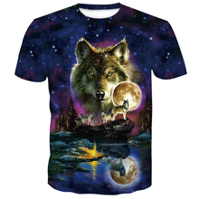 Newest Wolf 3D Print Animal Cool Funny Male Short Sleeve Fashion brand men t shirts 2019 summer mens O-Neck purple Printed top