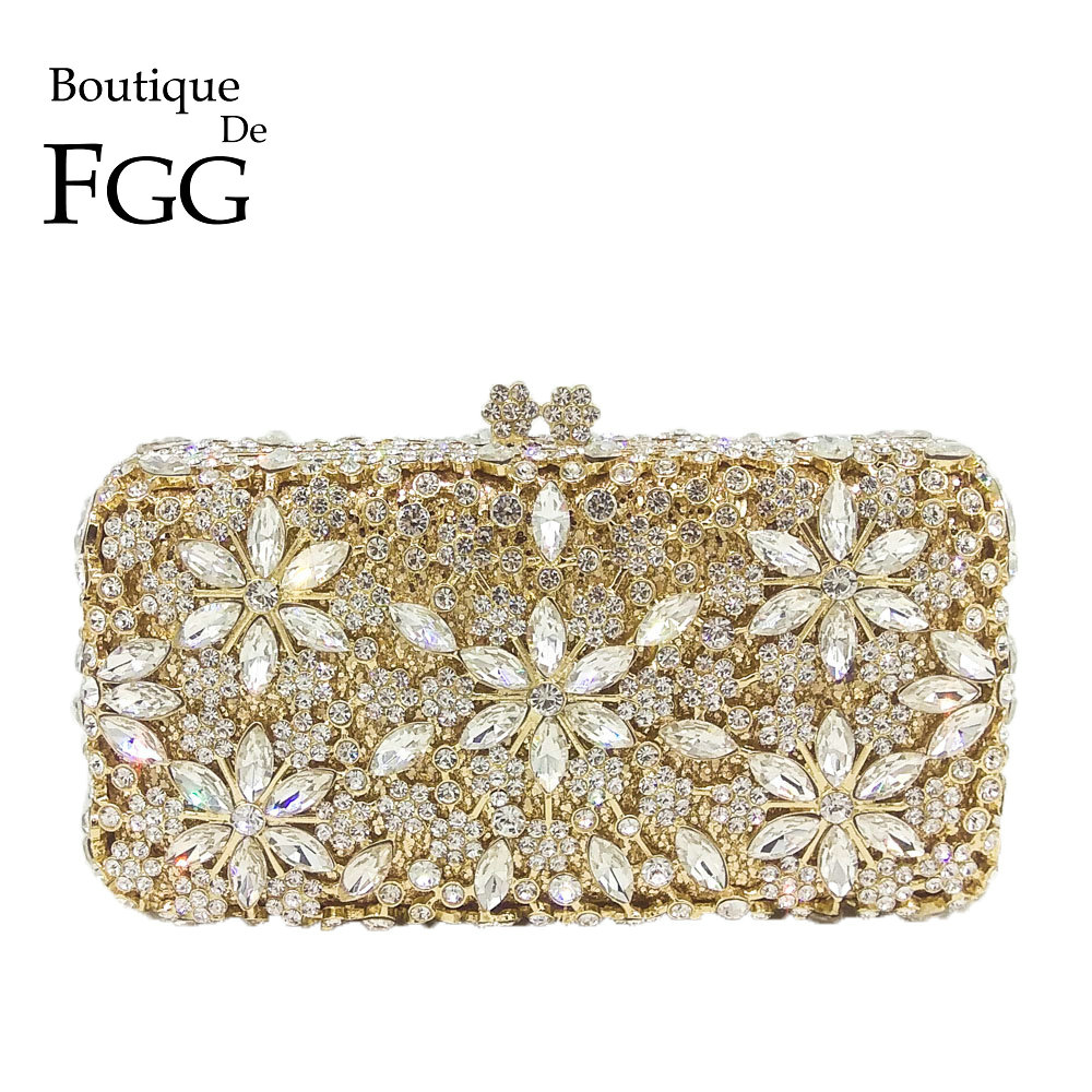 Socialite Metal Hard Case Ladies Clear Crystal Clutch Bags Evening Bags Women Hollow Out Wedding Party Silver Prom Handbag Purse box clutch purse