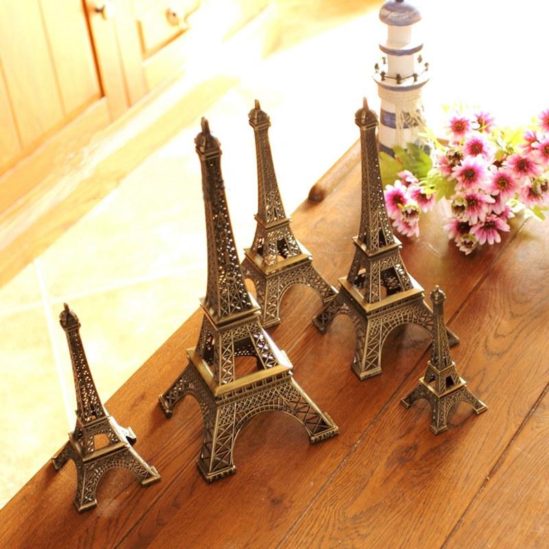Hot Sale! 2pcs 13cm Bronze Tone Paris Eiffel Tower Figurine Statue Antique Home Decoration Vintage Metal Crafts Model