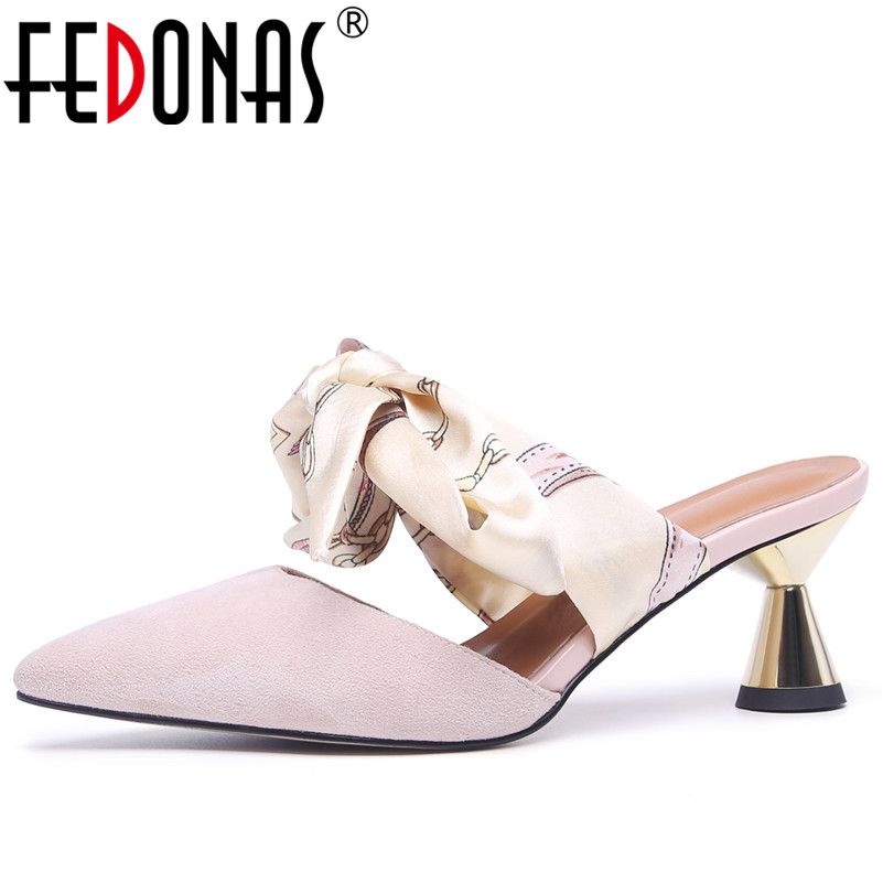 FEDONAS Female Fashion Summer Korean Elegant High Heeled Shoes Woman Pointed Toe Wedding Party Shoes Woman Suede Leather Pumps lakeshi new fashion pumps thin sexy high heeled shoes woman pointed suede hollow out bowknot sweet elegant women shoes