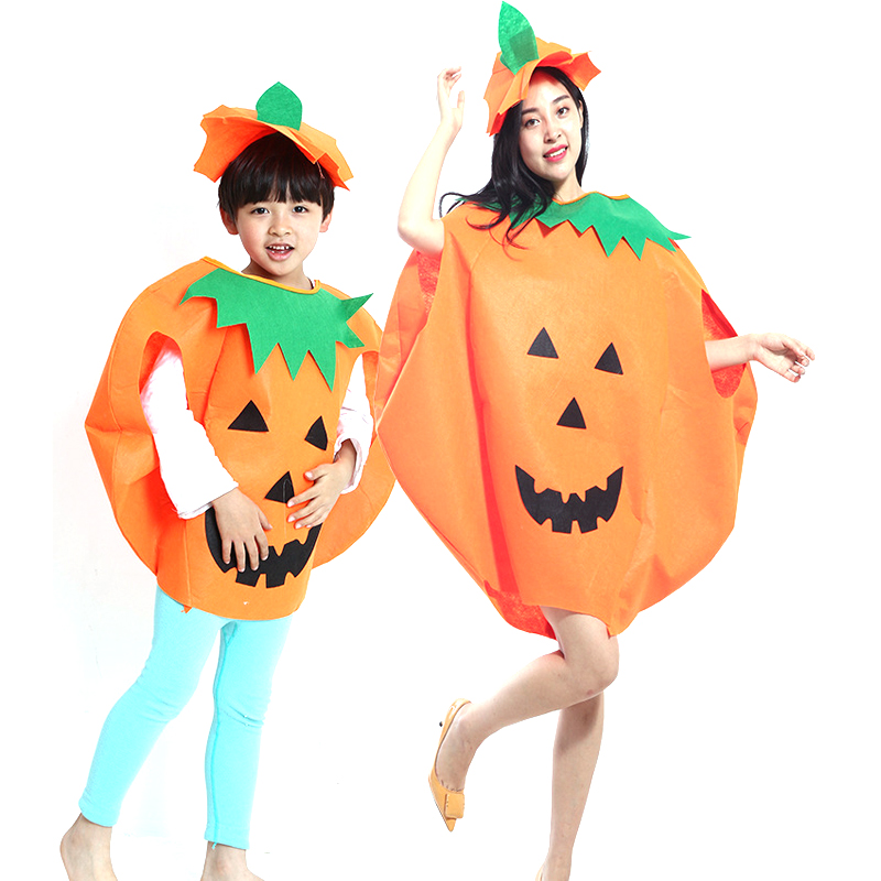 Unisex Halloween Pumpkin Clothes Christmas Thicken Eco-friend Pumpkin Cosplay Suit Non-Weavon Jumpsuit and Hat for Kids / Adult
