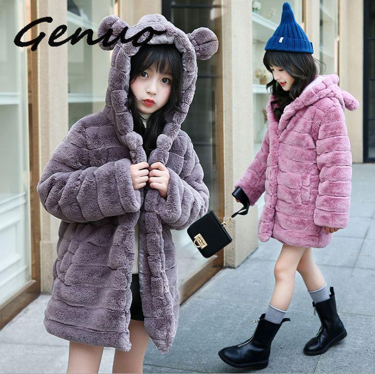 Genuo New Women Elegant Faux Fur Coat Fashion Winter casual Warm Luxury Fake Fur coat fluffy Coats Female Hooded Jacket Overcoat in Parkas from Women 39 s Clothing