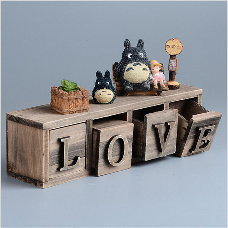 Totoro miyazaki classical style treasure chests vintage for Vintage wooden storage boxes