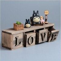 TOTORO Miyazaki Classical Style Treasure Chests Vintage Retro Wooden LOVE Jewelry Antique Trinket Storage Box LOVE Model