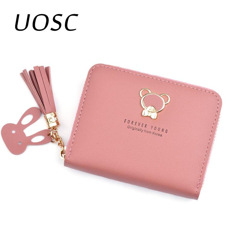 UOSC 2019 Leather Women Wallet Hasp Small Slim Coin Pocket Purse Women Wallets Cards Holders Luxury Brand Wallets Designer Purse