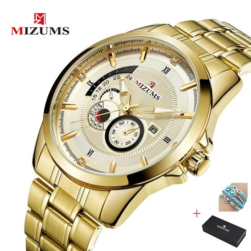 New Men's Watch Top Brand MIZUMS Steel Belt Watches Foreign Trade Watch Waterproof Quartz Business Men Watches Calendar