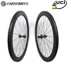 Farsports FSC50-CM-25 DT240(36 Ratchets) 700c bike bicycle full carbon fiber wheels clincher 50, road clincher bike wheels rim