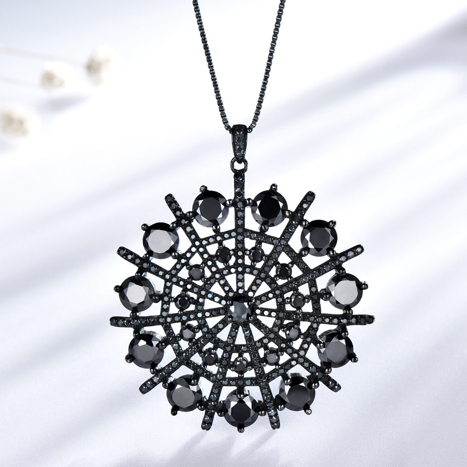UMCHO Hyperbole Gemstone Black Spinel Necklace Pendants Solid 925 Sterling Silver Female Jewelry For Women Gift