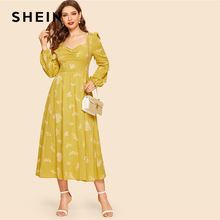 SHEIN Mustard Ruched Front Bishop Sleeve Fit And Flare Long Dress Women Casual 2019 Summer Sweetheart High Waist Dresses