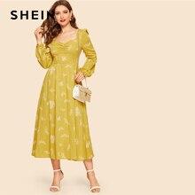 فستان طويل من SHEIN مزين بخردل وأكمام طويلة مناسب ومتوهج للنساء غير رسمي موضة صيف 2019 فساتين عالية الخصر على شكل قلب