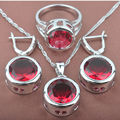 Round Red Stone Cubic Zirconia Women's Stamped  Silver Color Jewelry Sets Necklace Pendant Earrings Rings Free Shipping TS009