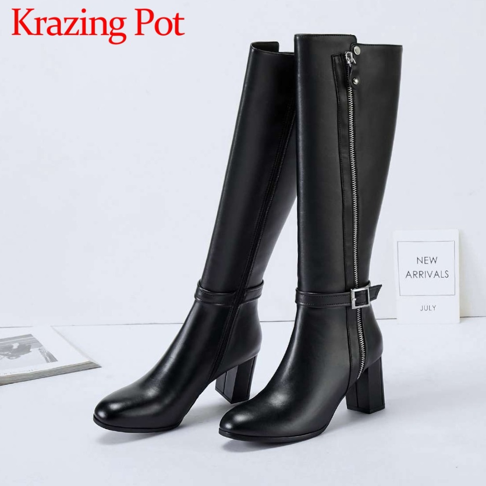 2018 new arrival real cow leather square toe high thick heels weatern riding boots zipper buckle handmade knee-high boots L052018 new arrival real cow leather square toe high thick heels weatern riding boots zipper buckle handmade knee-high boots L05