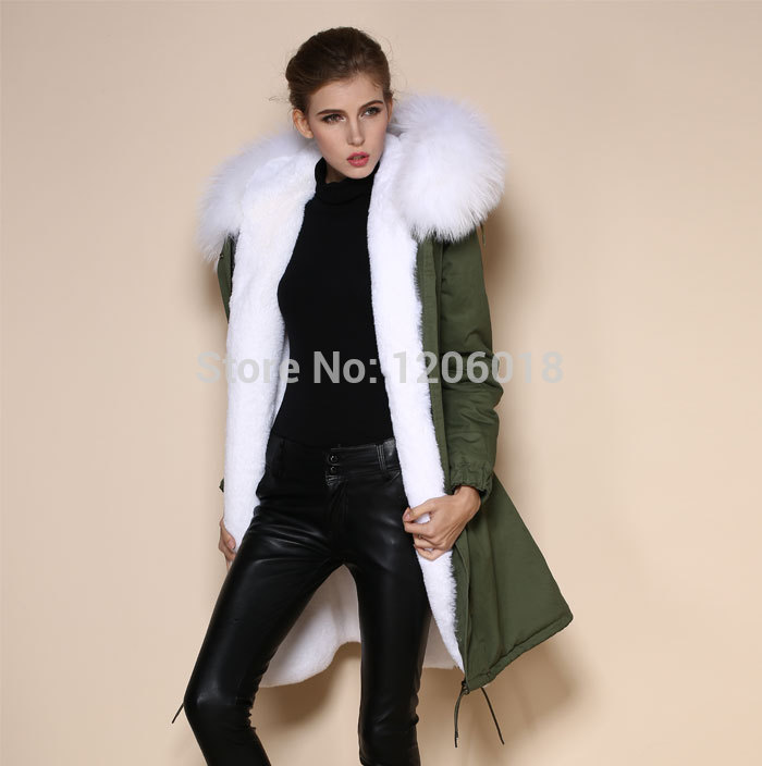2017 High Quality parka coat,Army green sexy white faux fur liner ...