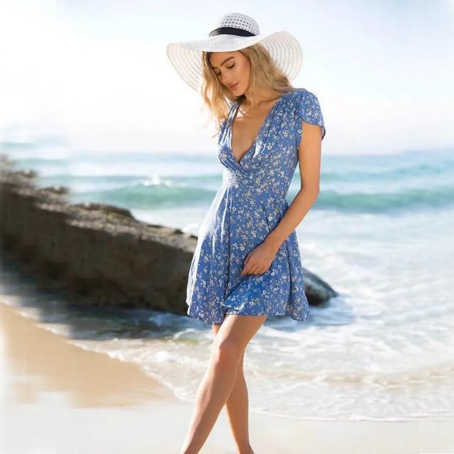 Floral Print Wrap Deep V-neck Summer Dress